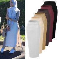 Muslim Girls High Waist Thick Skirt Slim Stretch Long Maxi Womens Pencil Dress