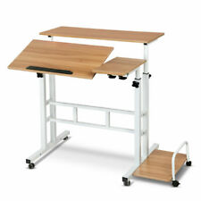Artiss Mobile Twin Laptop Desk - Light Wood