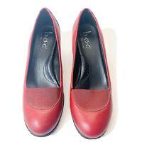 BOC Born Concept Womens Red Leather Classic Pumps Heels Sz US 6.5 EU 37 Slip On