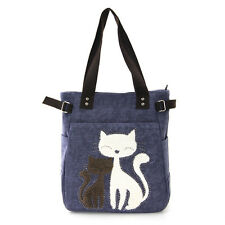 Lovely Cats with Faux Fur and Studs Canvas Tote Bag Handbag Purse