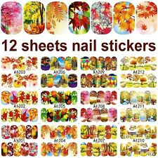 12 sheets water transfer nail art decorations stickers fall maple leaf desgins A