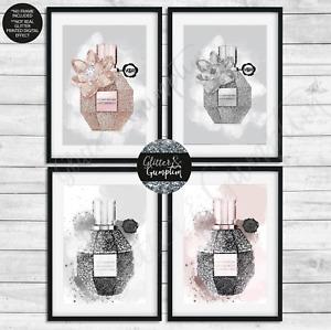 Beautiful Fashion Wall Art rose gold grey illustration perfume print