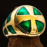 STUNNING MENS KNIGHT RING 3 THREE SIMPLYFIED CROSSES GREEN SIZE 11