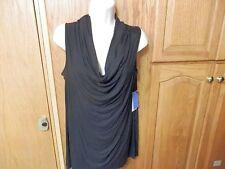 "NWT  Women's Top, Great Wardrobe Piece, Black, Sleeveless, with Draped Neck ""L"""