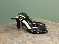 WORTHINGTON WOMEN'S BLACK LEATHER SLING BACK OPEN TOE HEELS SIZE 7M