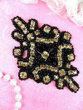 Rhinestone Applique Glass Champagne Stones Black Beaded Motif Dance Patch JB115