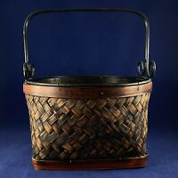 """BASKET HAND WOVEN RATTAN/BAMBOO REEDS 9.7"""" Two Tone w/ Iron Handles Decorative"""