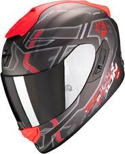 CASCO MOTO INTEGRALE SCORPION EXO 1400 AIR SPATIUM BLACK RED SILVER MATT TG L