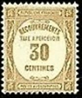 "FRANCE STAMP TIMBRE TAXE YVERT N° 57 "" RECOUVREMENT 30c. BISTRE "" NEUF xx LUXE"