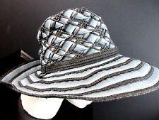 Adolfo Dominguez Women's Crusher Hat  Medium Brim Blue Black White Ribbon NWT M