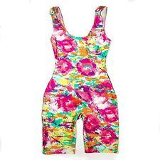 CHANEL BODYSUIT ROMPER VINTAGE SWIMSUIT - 6 - 38 - FLORAL PINK CC JUMPSUIT DRESS