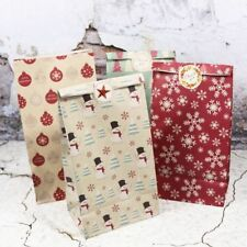 5pcs Christmas Paper Bags Print Snowflake Snowmans Xmas Trees Candy Cookies Bags
