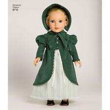 "Simplicity Sewing Patterns 8714 Vintage 18"" Doll Outfits Dress Apron Bonnet"