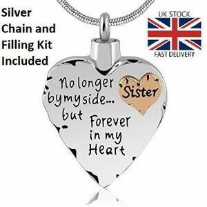 Sister Heart Cremation Urn Pendant Ashes Silver Necklace Funeral Memorial - UK