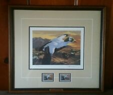 Joseph Hautman 1992 Federal Duck Print w/ Two Stamps Spectacled Eiders Signed