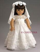 "Dress Bridal Communion White Lace Doll Clothes 18"" Carpatina Fits AG Dolls"