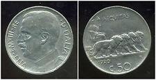 ITALIE  ITALY   50 centesimi 1920  ( tranche lisse  )   ( bis )