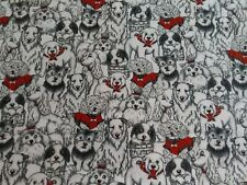"""2+ Yards Dog Print Flannel Fabric Mixed Breeds White, Black And Red, 43 """" Wide"""