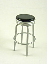 Dollhouse Miniature 1950's Kitchen  Bar Stool with Black Top, T5908