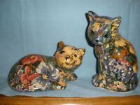 """Laminated Fabric Cat Figurines, Multicolored, 6"""" Tall, Preowned"""