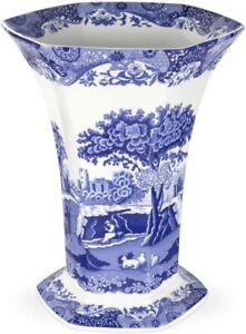 Spode Blue Italian Hexagonal Vase, Fine Porcelain, 10.5 Inch - Blue White