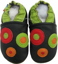 carozoo circle black 6-12m soft sole leather baby shoes