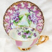 Vintage Purple & White Opalescent Footed Tea Cup & Saucer Set Painted Violets