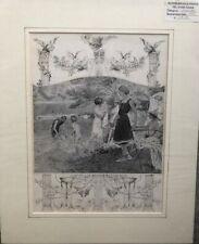 Original 1912 Vintage Matted Print of Edwardian Swimming Costumes