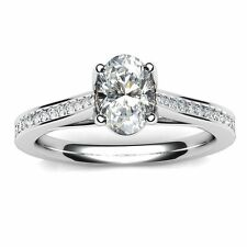 18 Carat Oval White Gold Fine Diamond Rings