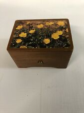 Vintage Music Box Wood With Yellow Flowers Reuge Made In Switzerland