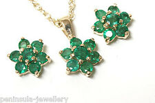 9ct Gold Emerald Cluster Pendant necklace and Earring Set Made in UK Gift Boxed