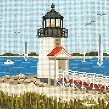 NANTUCKET BRANT POINT Lighthouse handpainted Needlepoint Canvas Needle Crossings
