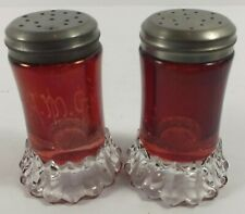 EAPG Antique US Glass Nevada Ruby Stain Salt & Pepper Shakers W/ Crystal Bases