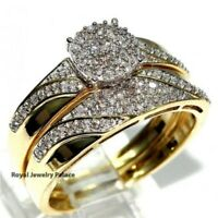18K Yellow Gold Plated White Sapphire Ring Women Wedding Handmade Jewelry Sz5-10