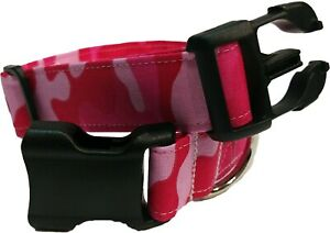 Pink Camo Dog Collar military Army Fabric Adjustable camouflage puppy girl femal