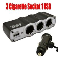 Car Cigarette/Cigar Lighter 1 to 3 way Splitter socket 12V/24V Hub +USB 500mA 5V