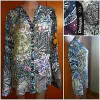 "DESIGUAL Women's Shirt.Long sleeve.Multicolor print ""Floral""""Credit card""Siz.XXL"