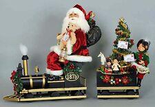 CHRISTMAS DECORATIONS - SANTA & ELF RIDING THE NORTH POLE EXPRESS TRAIN - 2 PCS