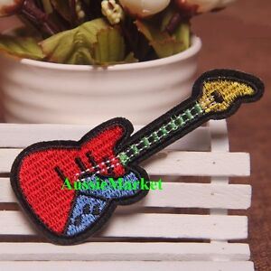 1 x guitar patch patches shirt jeans dress hat cap sew iron on music band string