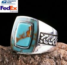 Turkish Handmade 925 Sterling Silver turquoise stone Mens man ring USA ALL SİZE