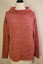 Coldwater Creek Sweater Women's Size L Large 14 Cowl Neck Cotton Red Long Sleeve