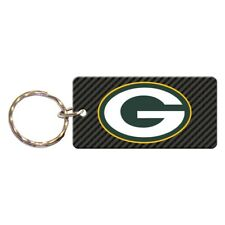 GREEN BAY PACKERS CARBON RECTANGLE ACRYLIC KEY RING NEW WINCRAFT