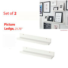 "IKEA 2 Picture Ledges MOSSLANDA 22"" White Wall Shelves for Books RIBBA Frames"