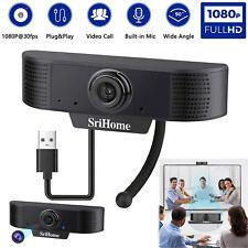 HD Webcam 1080P Computer Web Camera For PC Laptop Desktop Video Cam W/Microphone