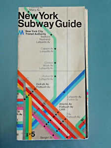 Authentic, Vintage, first 1972 Vignelli Subway Guide