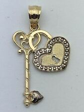 New 14K Two Tone Gold Heart Locket with Key Charm Pendant 1.3 grams#7187 Jewelry