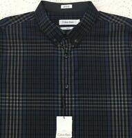 CALVIN KLEIN Men's L/S Shirt L Large Slim Fit Black Blue Checked NWT $79+ New
