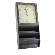 Vintage Distressed Shabby Chic Style Black Wall Clock Letter Rack Coat Hooks