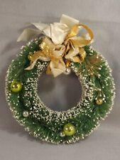 Christmas Bottle Brush Wreath Green Vintage Ribbon Glass Balls 9.5 inch Diameter