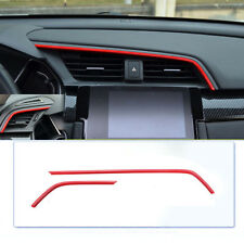 2x Air Outlet Frame Cover Trim High Quality Red For Honda Civic 10th 2016-2018